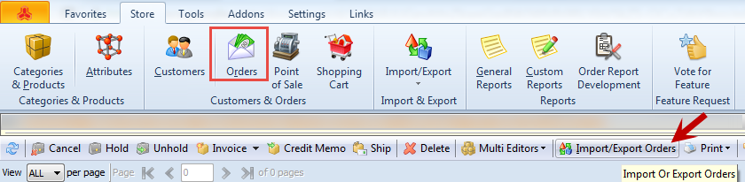 Import orders option