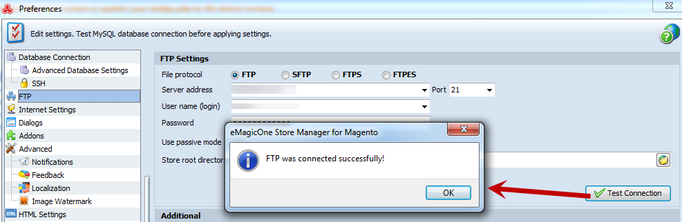 Test FTP connection