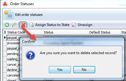 Delete order status