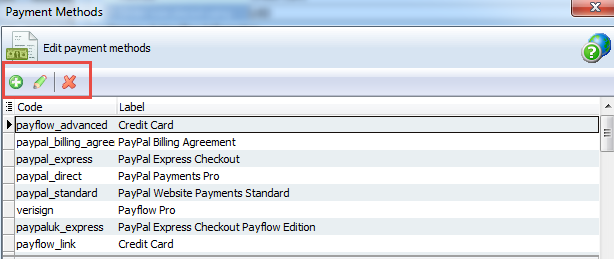 Payment methods toolbar