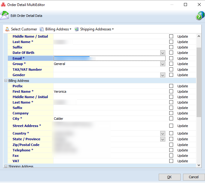 Order Details Multi Editor form