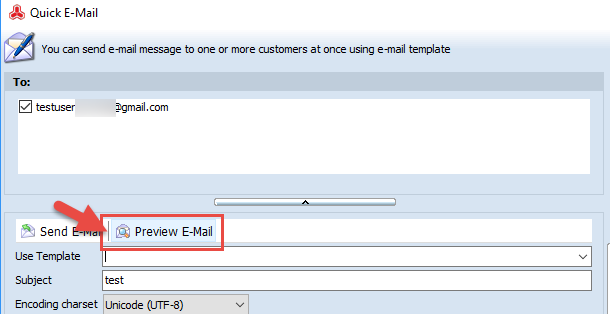 Preview email button