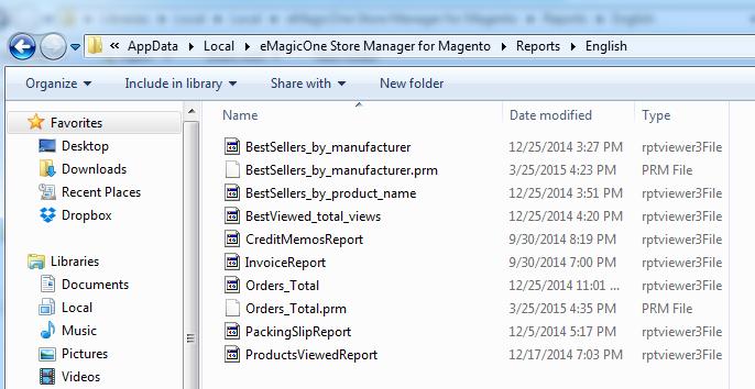 Reports folder