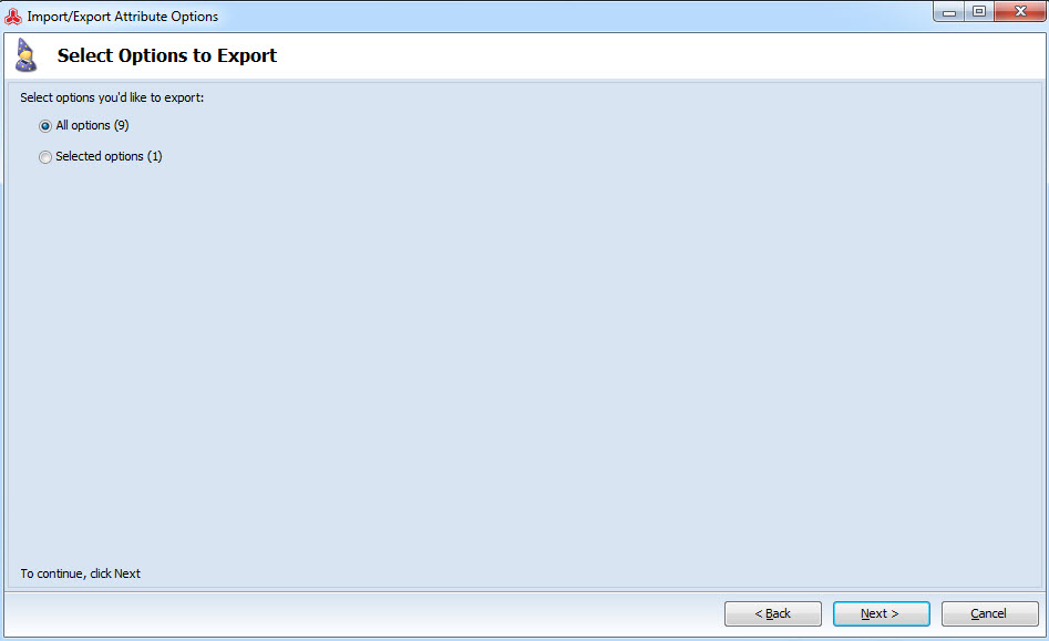 Choose options to export