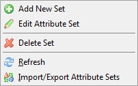 Attribute Sets context menu