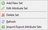 Attribute Sets context menu