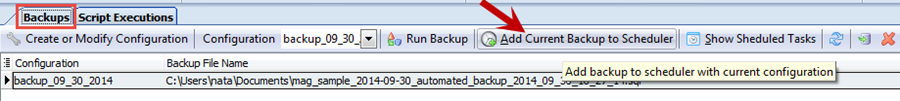 Add current backup to scheduer