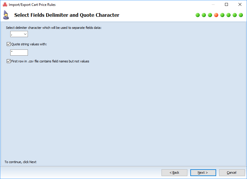 Select Fields Delimiter and Quote Character step