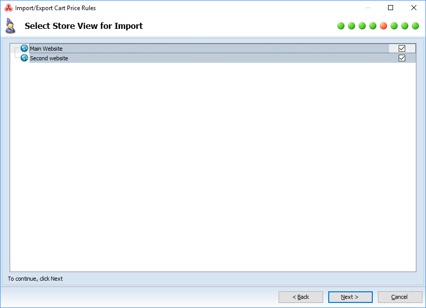Select store view for import