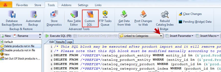 Custom SQL linked to categories
