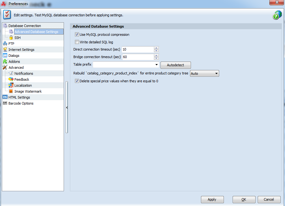 Advanced Database Settings