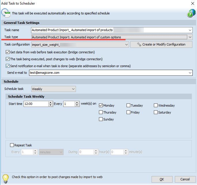 Automated custom options import can be scheduled