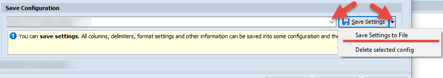 Save import configuration
