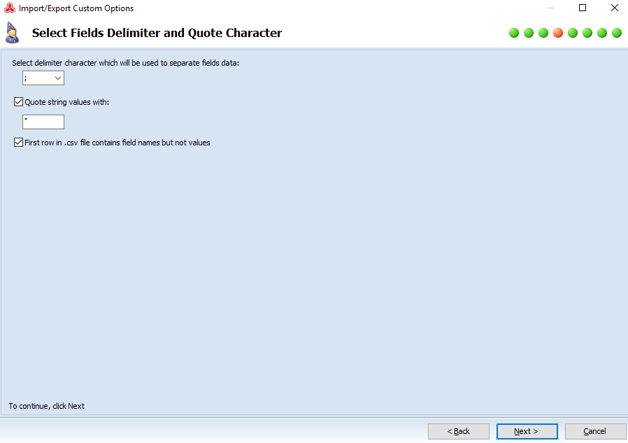 Select fields delimiters and quote character