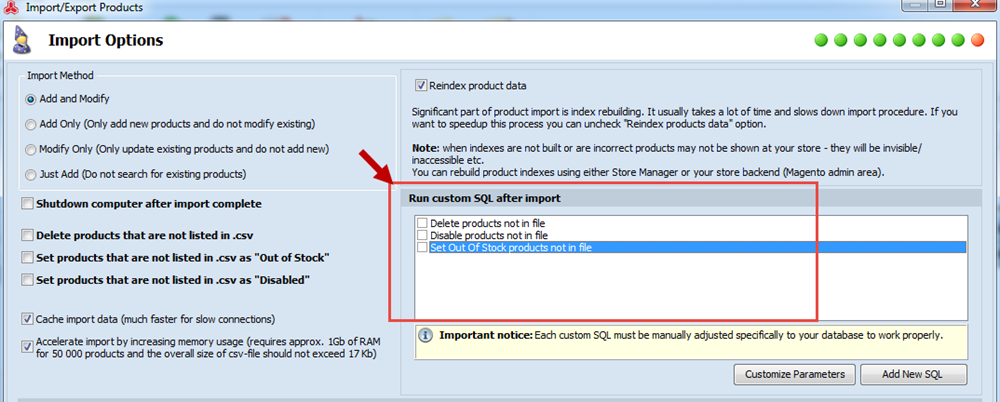 Custom SQL in import step