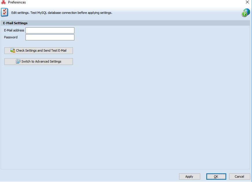 E-Mail Settings page