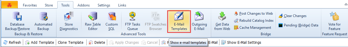 E-Mail Templates section