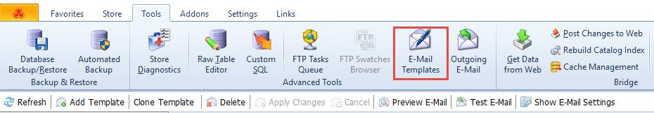 E-Mail Templates toolbar