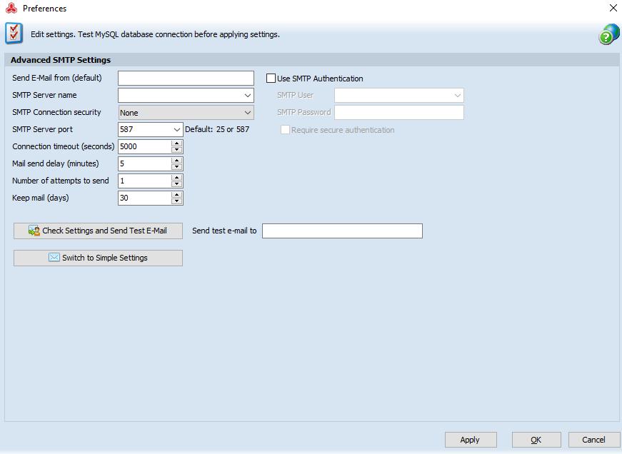 Advanced SMTP Settings form