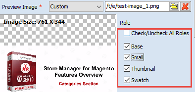 Image Roles checkboxes