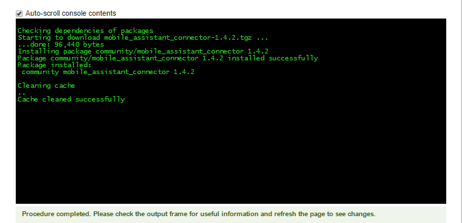 Auto scroll console of installation