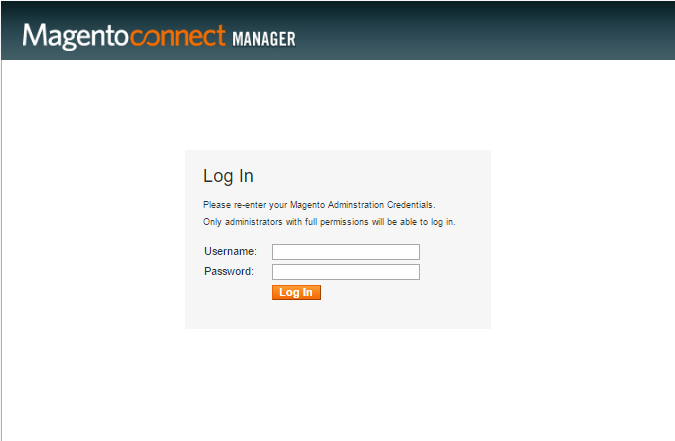 Login to Magento Connect form