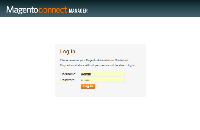 Magento connect manager login form