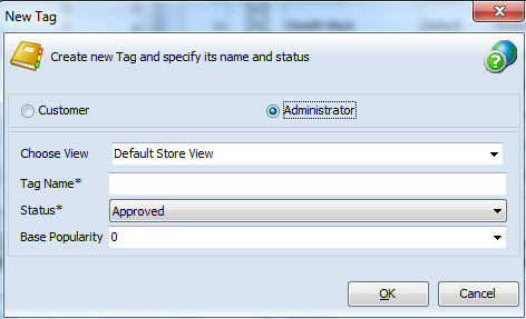 Product tag as administrator
