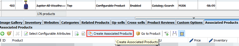 Create associated products button