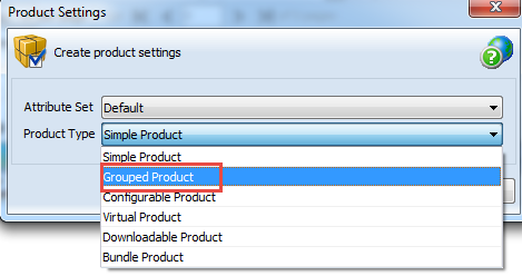 Create Grouped type of Product