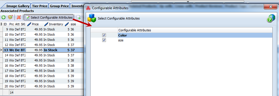 Select configurable attributes