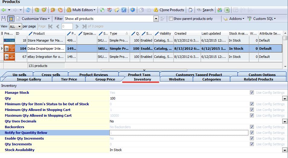 Simple inventory tab