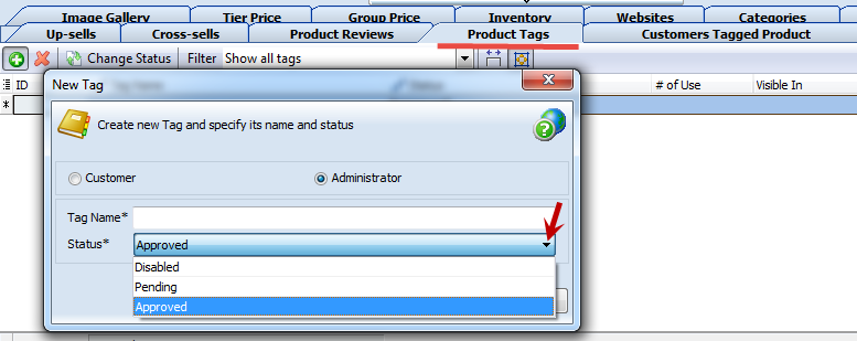 Simple product tag as Administrator