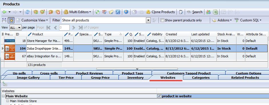 Simple product website tab