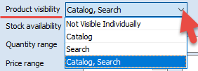 Product Visibility field
