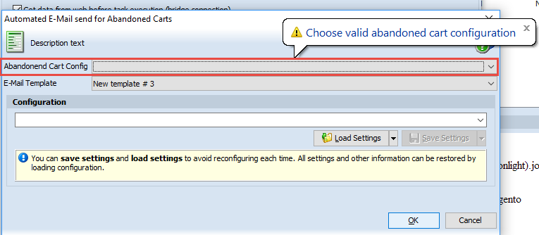 Choose valid abandoned cart configuration
