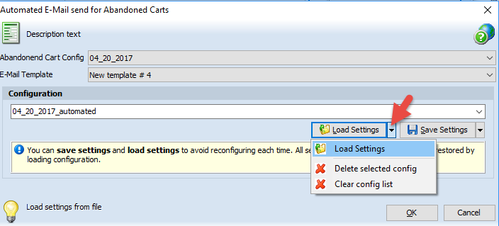 Load Settings command list