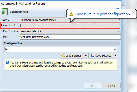 Choose valid report configuration