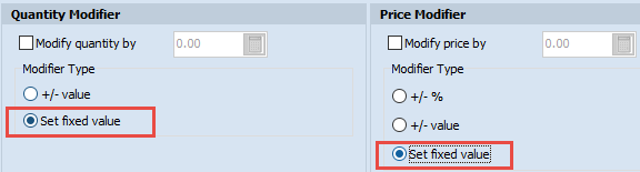 Set fixed value