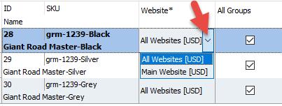 Website column list