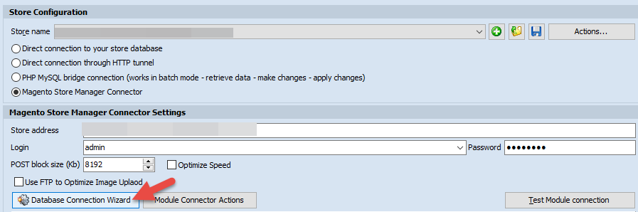 Database connection wizard option