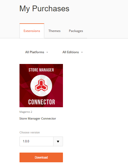 My Purchases section in Magento account
