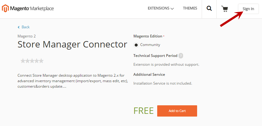 Sing in to the Magento Marketplace