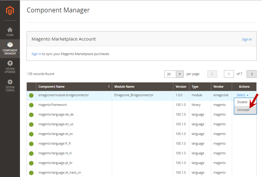 Uninstall module in Component Manager section