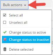 Change status to inactive