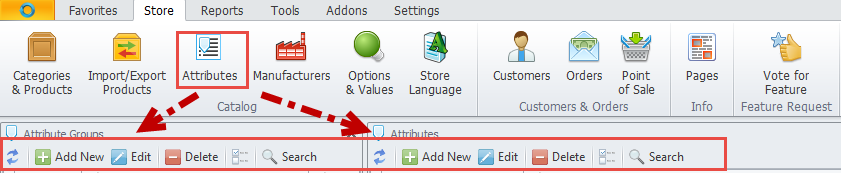 Attributes toolbar