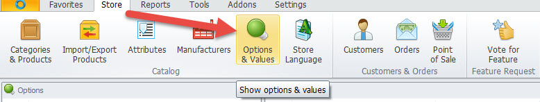 Options and values section