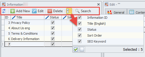 Information top toolbar