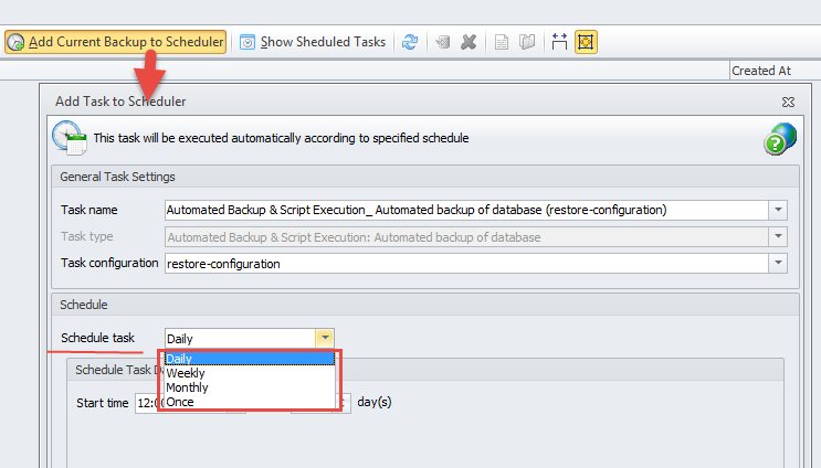 Add current Backup to Scheduler