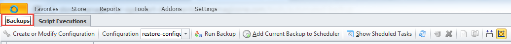 Backups toolbar